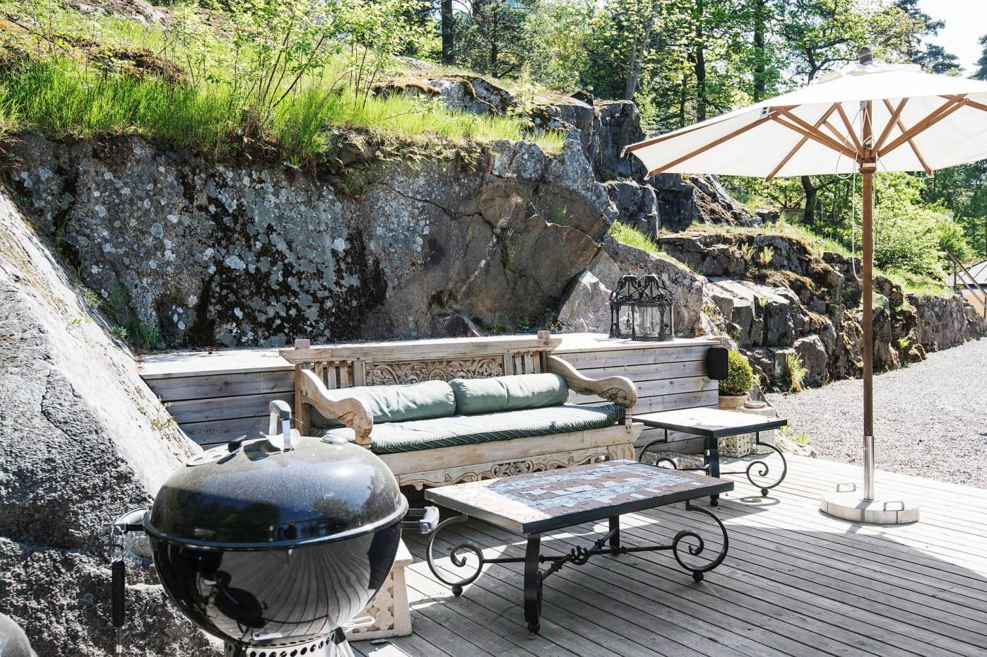 терраса гриль садовая мебель зонт