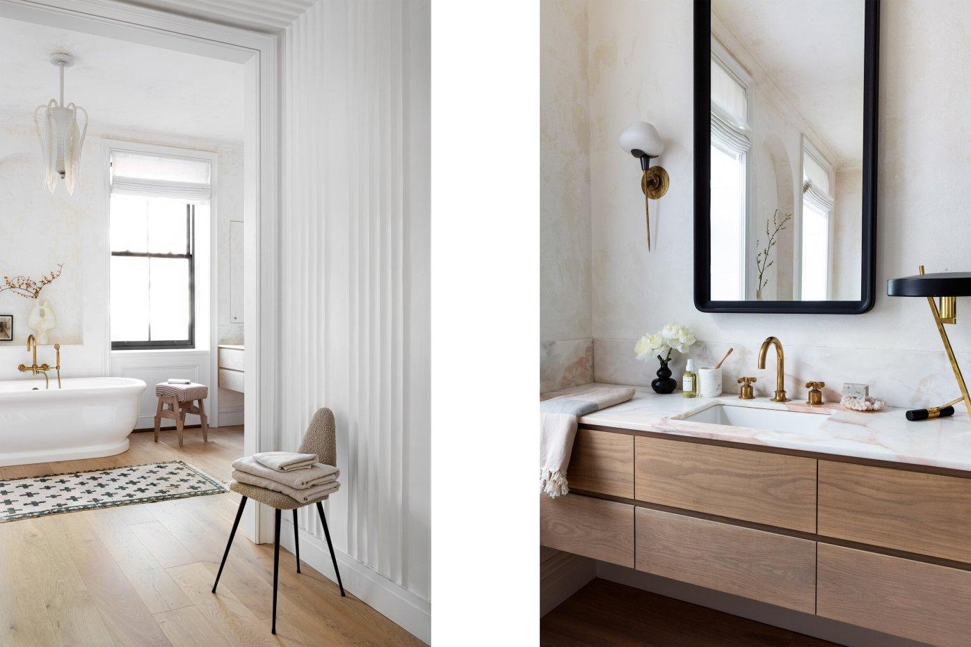 ванная комната раковина зеркало мрамор