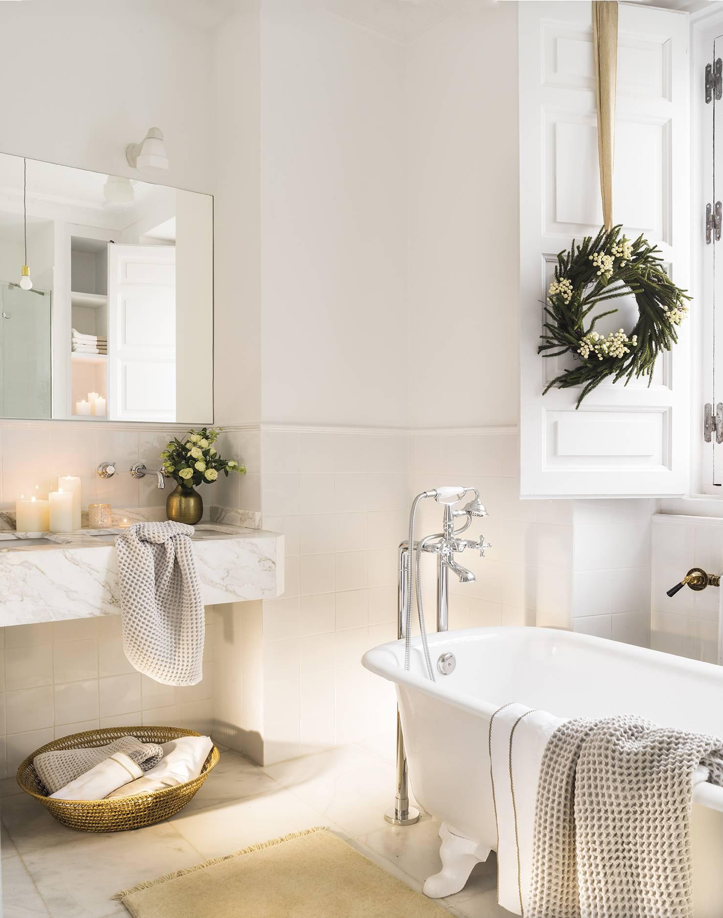 новогодний декор в ванной