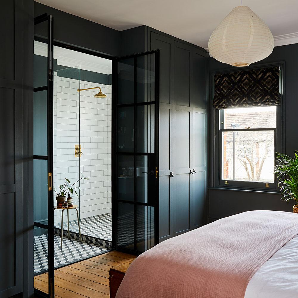 спальня шкаф распашные стеклянные двери