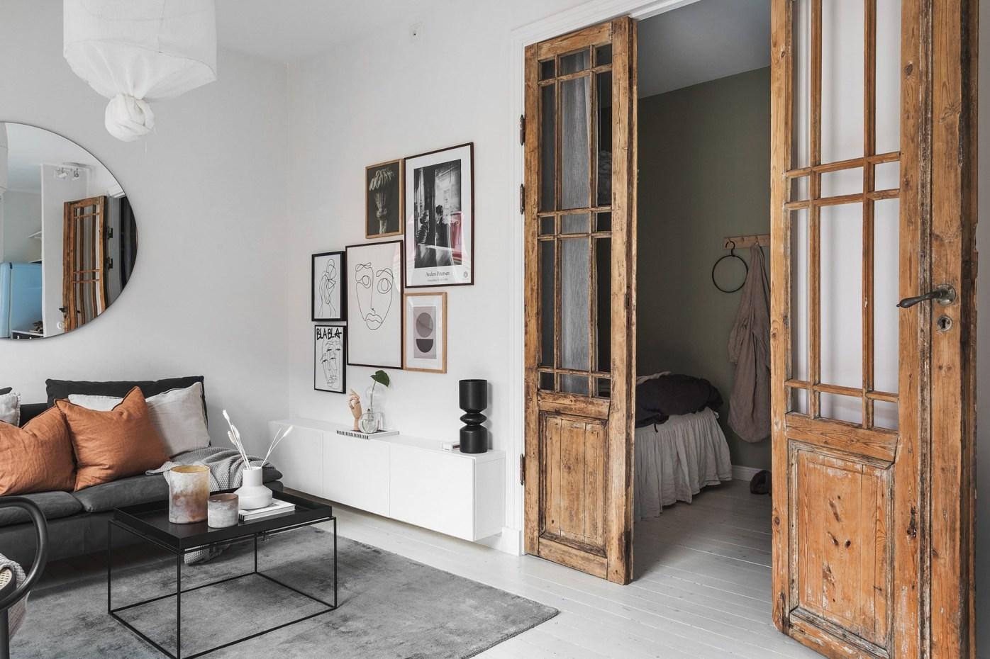 квартира 40 квм спальня распашные двери