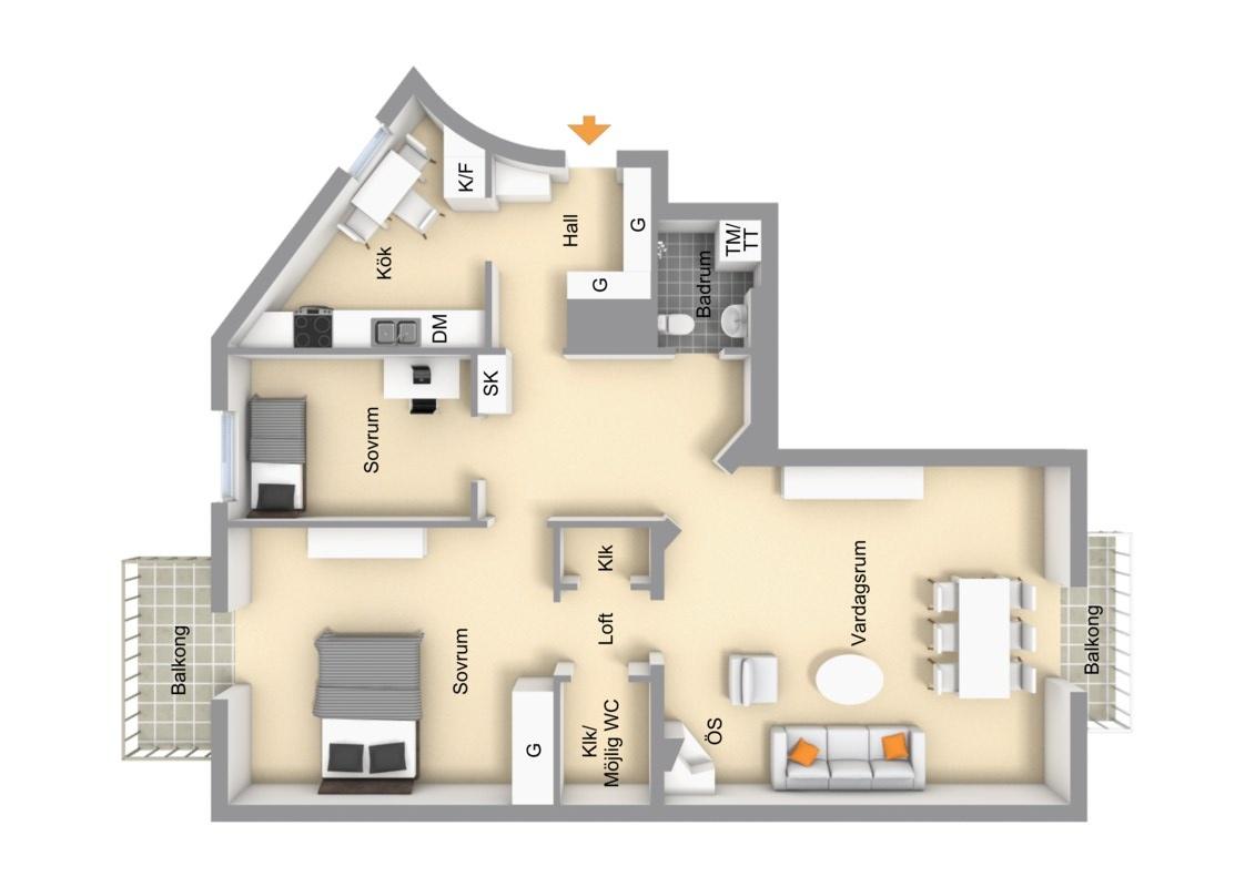 квартира 89 квм планировка 1