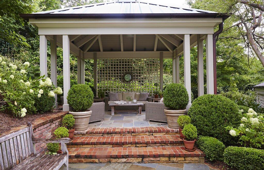 6 garden gazebo brick steps