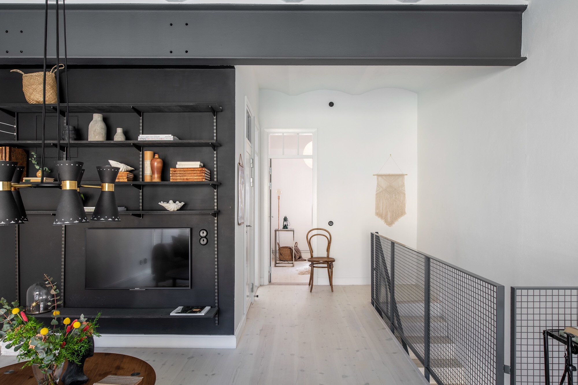 black wall room