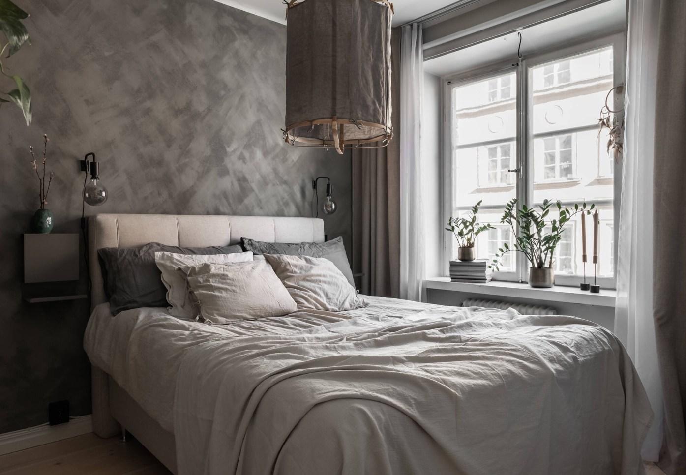 bedroom grey wall