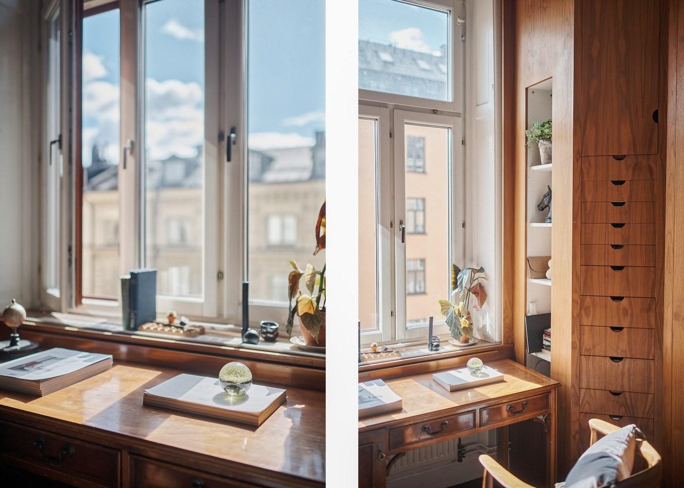 window wooden sill desk