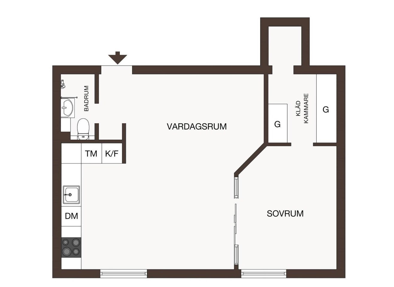 46 sqm studio apartment floor plan