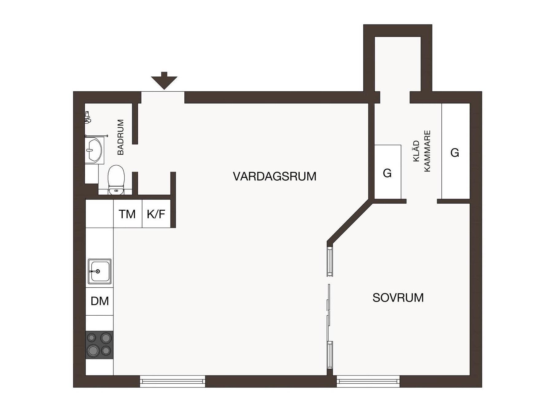 46 sqm studio apartment floor plan