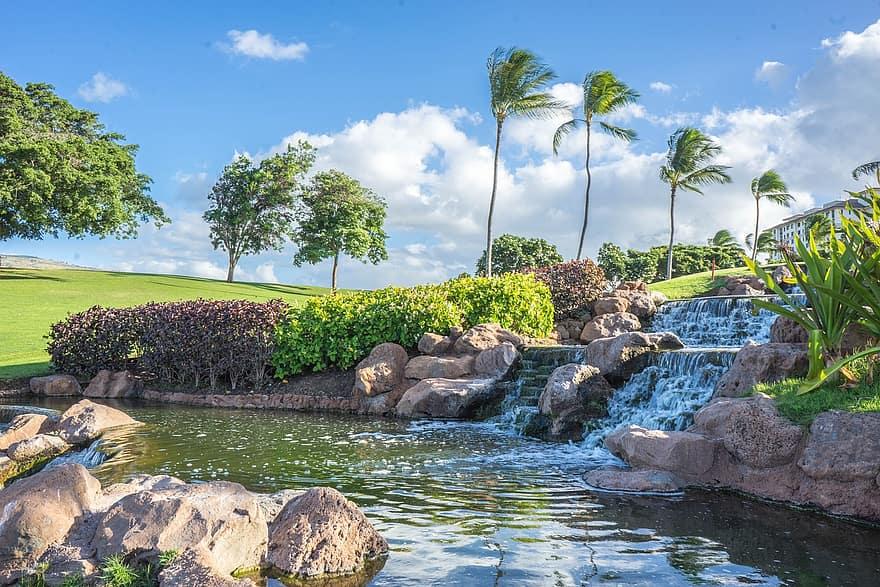 hawaii oahu waterfall rocks ko olina pond palm trees water landscape