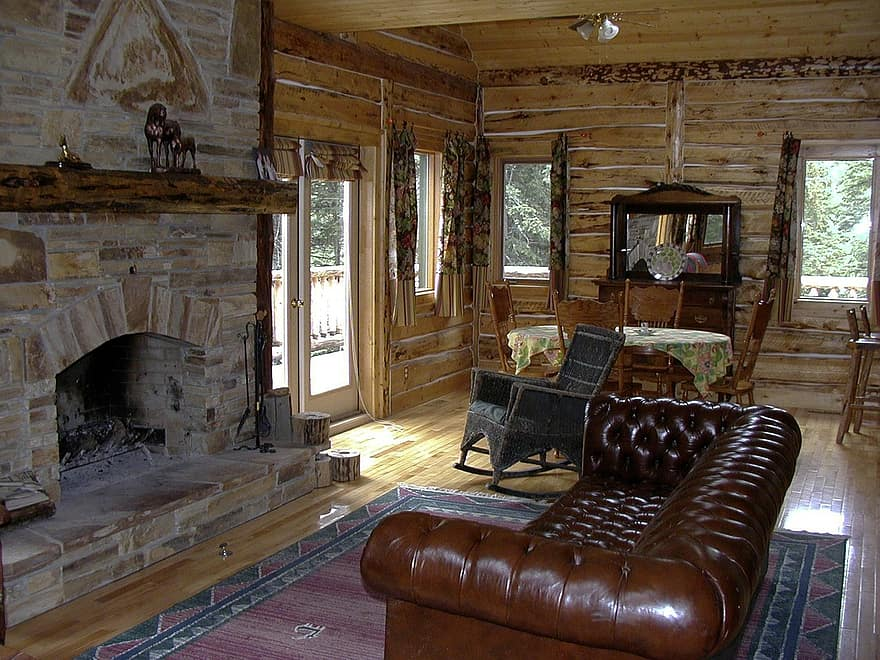 western country style fireplace log cabin interior furniture indoor house building