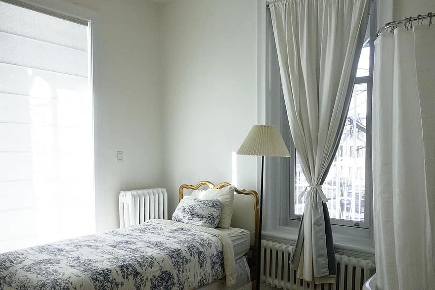 bedroom bed room home interior bedding apartment windows residential