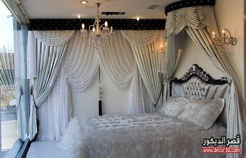 ستائر غرف نوم بسيطة تصاميم اشكال والوان ناعمة قصر الديكور