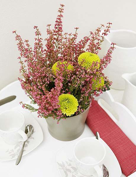 Heather Flower Arrangements Colorful Table Centerpiece Ideas