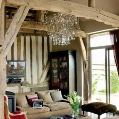 Country Home Decorating Ideas Living Room Best Paint Colors India French Interiors With Brocante Charm And Red Accents Design Wntique Wood Beams Vintage Furniture Crystal Chandelier