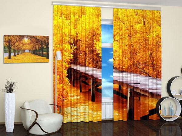 Fall Themed Wallpaper 15 Window Curtains With Colorful Art Prints Of Beautiful
