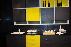 kitchen decor yellow oak island black and color schemes for modern