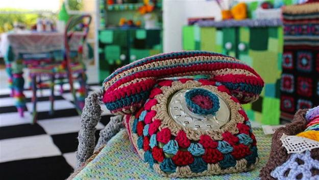 wall decorations for kitchen island with sink and stove top colorful crochet decor, unique craft ideas ...