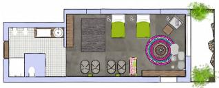 Planta de la KangaRoooom. Habitación divertida y muy estilosa. En pizarra y baldosa alicatada. Con vigas vistas en el techo donde suspendemos las cunitas