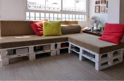 Como hacer un sofá con unos cuantos palés rectificados