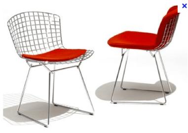 Silla Bertoia. Su cromado combina genial con la madera y el plástico de la silla Panton