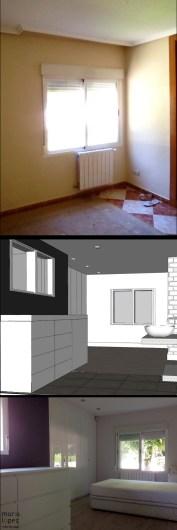 REFORMA INTEGRAL VIVENDA. decoraCCion.wordpress.com dormitorio en suite con frente de ikea