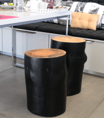 proyecto decoración y amueblamiento mesas de cafe a medida mesas tronco TABURETES DE MADERA47