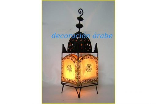 Lámpara de artesanía marroquí de hierro y piel pintada