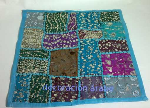 cojin india patchwork azul