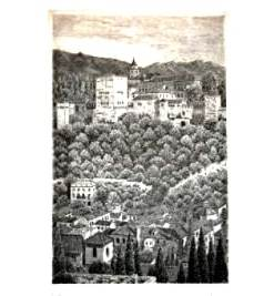grabado pintura Mirador san Nicolas, granada