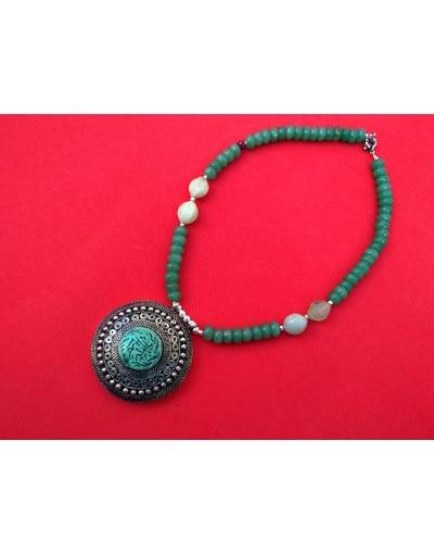 collar étnico artesanal plata turquesa