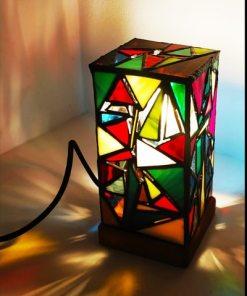 lámpara de mesa artesanal cristales de colores