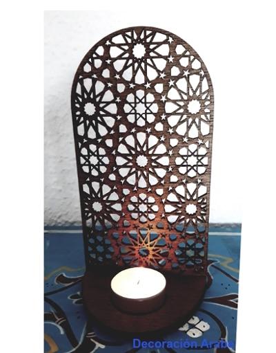 porta velas de madera celosía