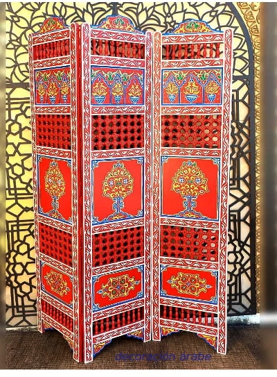 biombo de madera pintada marroquí