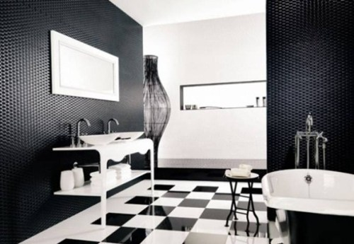 black and white bathroom with 3d walls