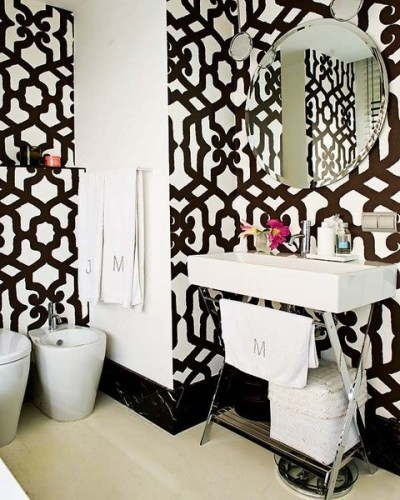 bathroom black and white patterns