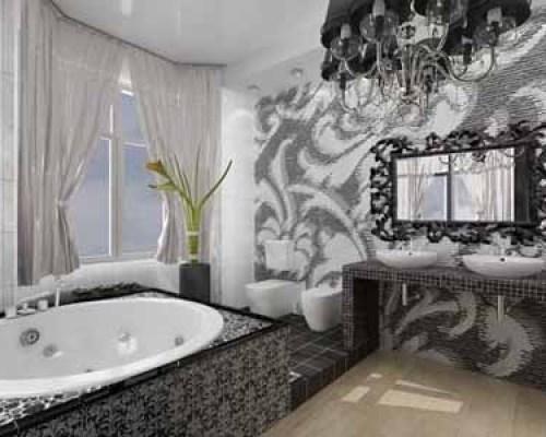black and white bathroom whirlpool tub
