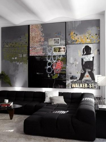sala casual color negro