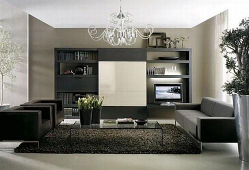 sala elegante sofas negros