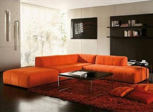 sala sofa naranja