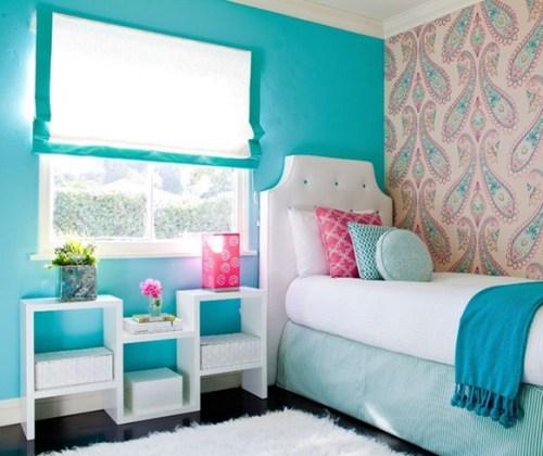 dormitorio color turquesa