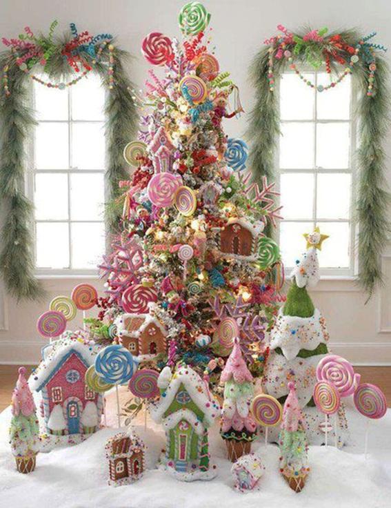 5 Arboles De Navidad Decorados Con Dulces - Arbol-de-navidad-decorado