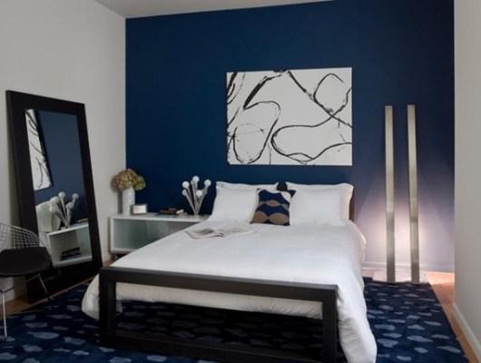dormitorio decorado azul