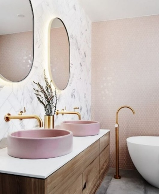 pink sinks with chrome taps