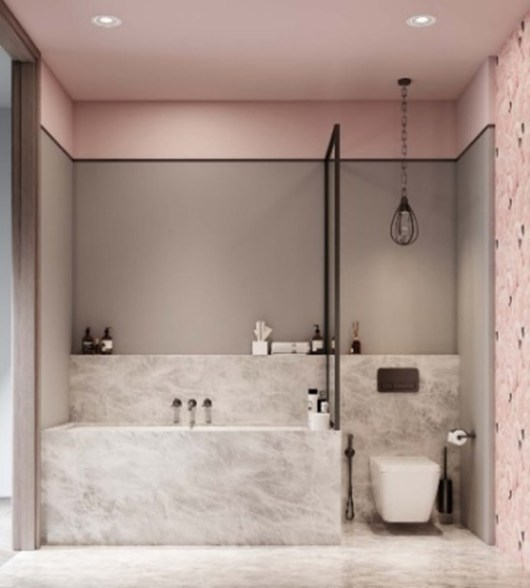 modern and contemporary bathroom in pastel pink