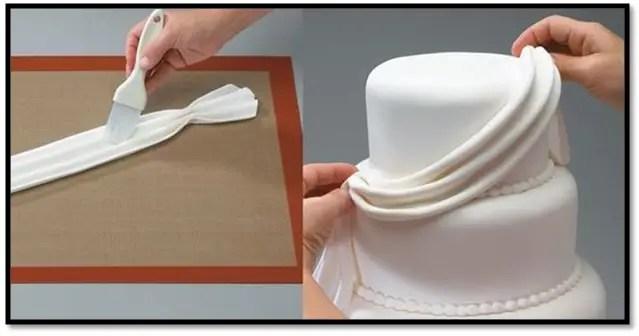 como hacer un drapeado con fondant