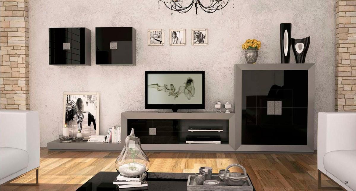 Mueble para el saln lacado en negro y gris  Villalba