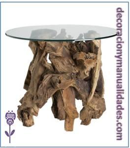 mesa de jardin cristal y madera