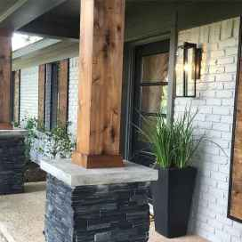 64 Beautiful Wooden and Stone Front Porch Ideas