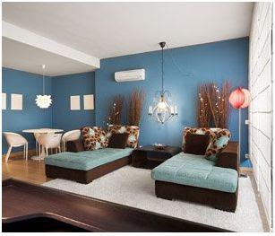 Idea para combinar colores azul y marr n - Muebles marron oscuro color pared ...