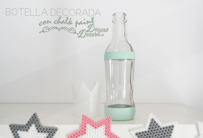 Botella decorada con chalk paint